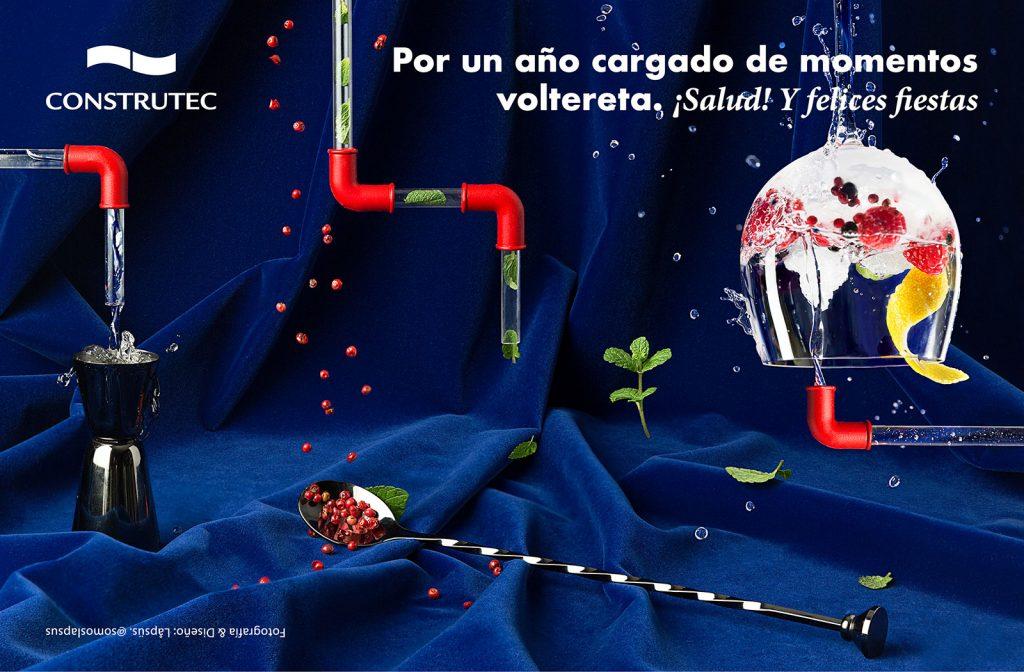 Fotografía & Diseño de la felicitación de Navidad 2019 para Construtec Duktus - Sistema de tuberías para transportar GinTonic