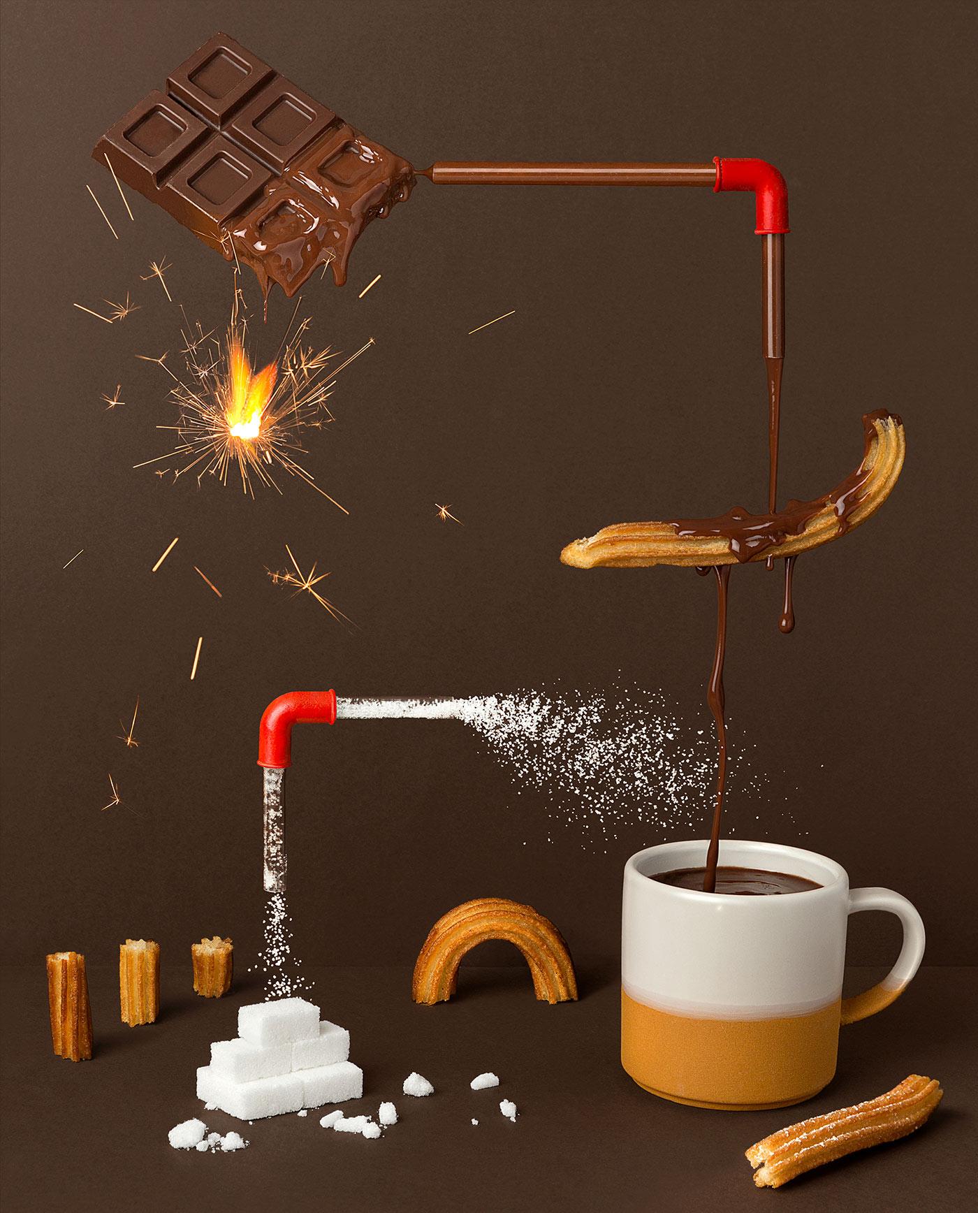 Conducción de chocolate a la taza - Fotografía conceptual para minería - Condukmin